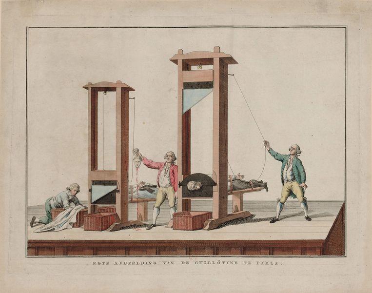 Egte afbeelding van de guillotine te Parys (1791-1792). Kunstenaar onbekend. Beeld Getty