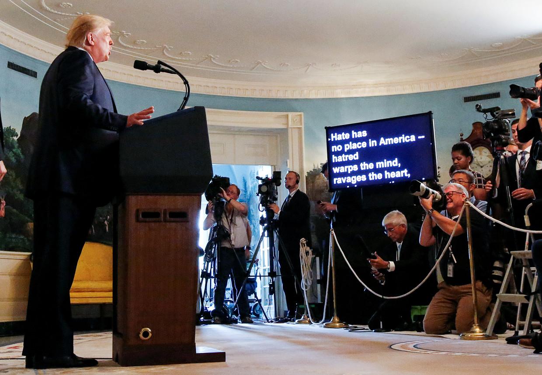 'Voor haat is in Amerika geen plaats,' zei Trump in het Witte Huis over de schietpartijen in Ohio en Texas.