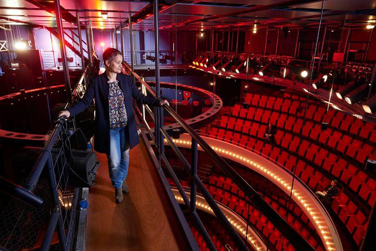 Ank Marx in haar geliefde Theater Flint in Amersfoort in 2017. Beeld Marco Hofsté