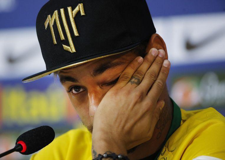 Neymar, geblesseerd op het WK voetbal, 2014. Beeld AP