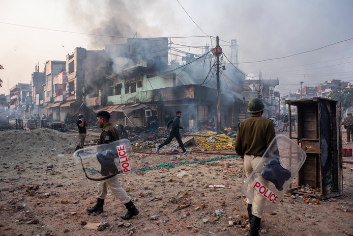 De rellen in de hoofdstad New Delhi