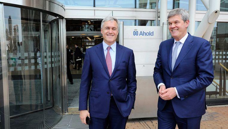 Juni 2015: Dick Boer(CEO Ahold) en zijn Belgische collega Frans Muller (CEO Delhaize) poseren bij het hoofdkantoor van Ahold waar een personeelsbijeenkomst is naar aanleiding van de fusie tussen beide bedrijven. Beeld anp