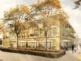 Een schetsontwerp voor het nieuwe wijkcentrum in de Schijndelse Bloemenwijk. Hierboven komen circa 16 appartementen.
