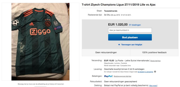 De advertentie van het shirt op handelwebsite eBay.