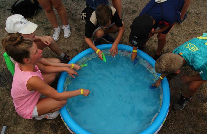 Een kinderbadje biedt de kans waterpistolen te vullen.