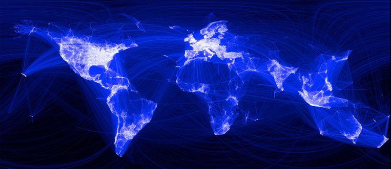 Een graphic uit 2010 geeft de intensiteit weer van het Facebookverkeer in dat jaar. Beeld  Paul Butler