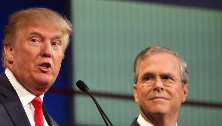 Jeb Bush tijdens een debat met Donald Trump, 6 augustus 2015. Beeld ap