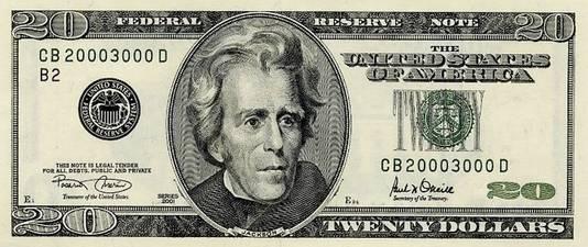 Andrew Jackson op huidige twintig dollarbiljet