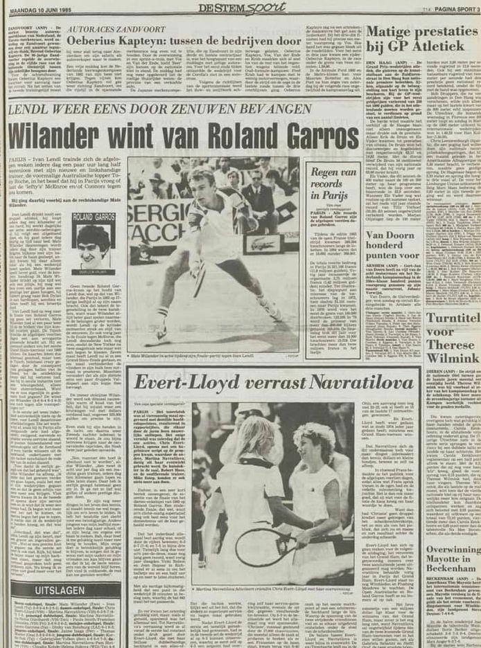 De gewraakte sportpagina uit 1985 met de misser in de kop over Roland Garros.