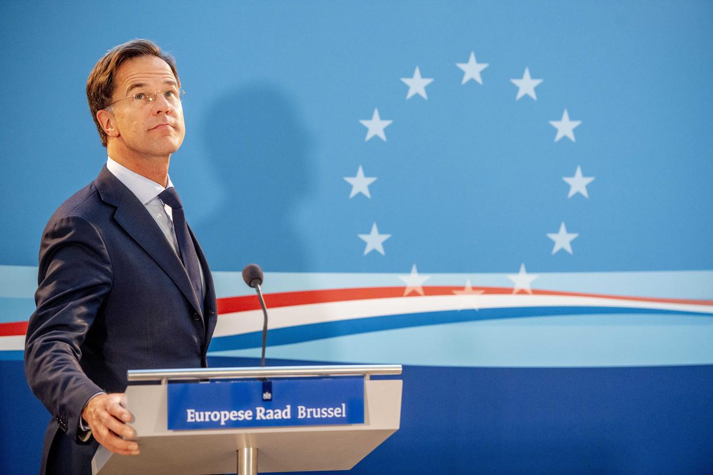 Minister-president Mark Rutte na afloop van de EU-top. Hij was vier dagen lang het mikpunt van kritiek van collega's. Beeld ANP
