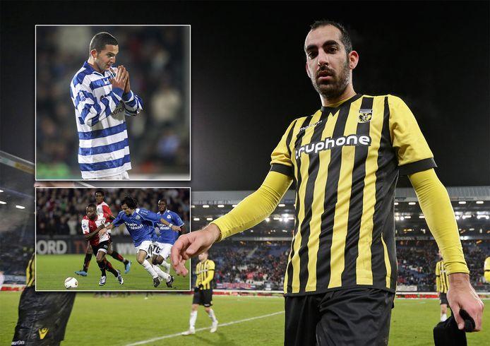 Dan Mori als speler van Vitesse. Inzetjes: Ben Sahar (De Graafschap) en Samuel Scheimann als speler van FC Den Bosch in duel met Andwélé Slory.