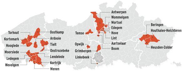 Vlaanderen kaart besmettingen 28 gemeentes