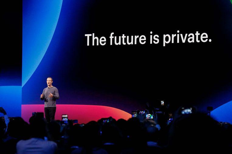 Facebook CEO Mark Zuckerberg op een bijeenkomst van Facebook in april van dit jaar. Beeld AFP