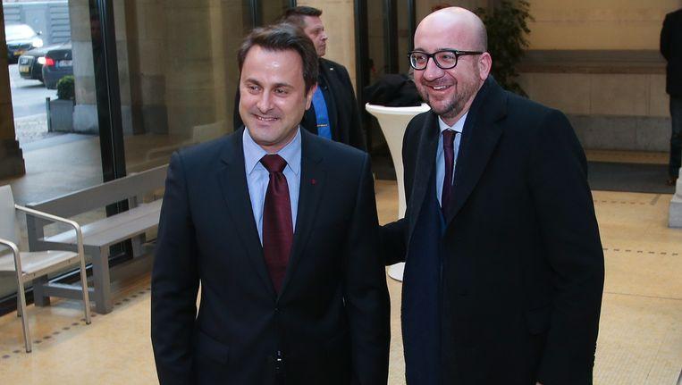 Luxemburgs premier Xavier Bettel en Charles Michel.