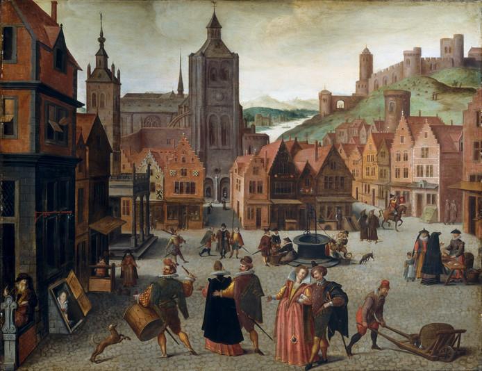 Schilderij van de Grote Markt van Bergen op Zoom, toegeschreven aan Abel Grimmer, vermoedelijk gemaakt tussen 1590 en 1597.