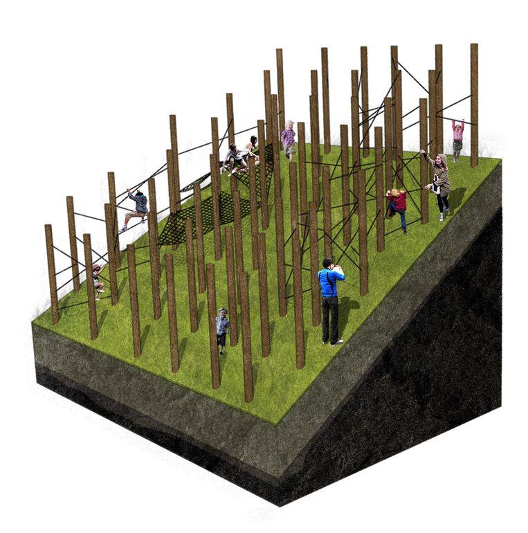 Via touwen zal je van paal naar paal kunnen zonder de grond te raken.