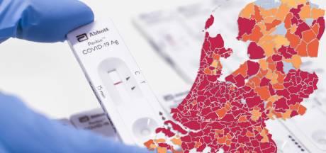 KAART | Opnieuw zo'n 650 nieuwe besmettingen in regio, deel Achterhoek kleurt flink roder