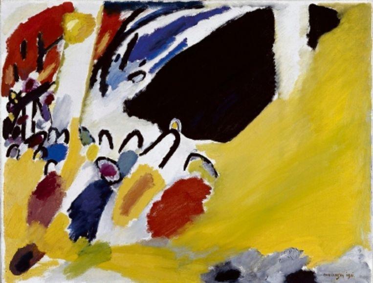 Boven: Wassily Kandinsky, Holland ? Strandkörbe, 1904. Links: Wassily Kandinski: Impressie III (Concert), 1911.Rechts: Gabriële Mÿnter: Von Jawlensky und Werefkin, 1909. (COLL. LENBACHHAUS MÜNCHEN) Beeld