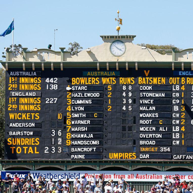 Raakt u er wijs uit? Het scorebord tijdens een match tussen Engeland en Australië. Beeld BELGAIMAGE