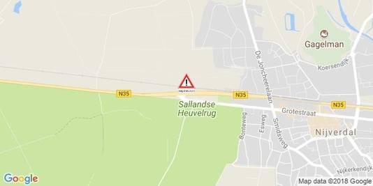 De locatie van het ongeluk op de N35