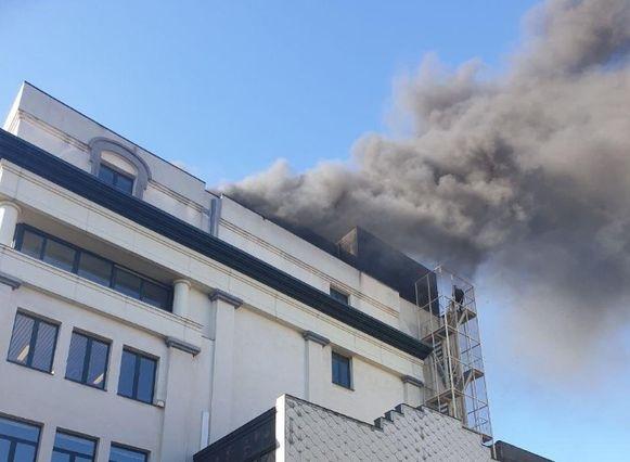 De rookpluim was van ver buiten de stad te zien.