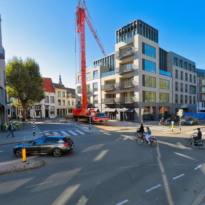 Het appartementencomplex Gasthuispoort in het centrum van Breda dat dit jaar is opgeleverd. In totaal wil Breda 6000 nieuwe woningen bouwen.