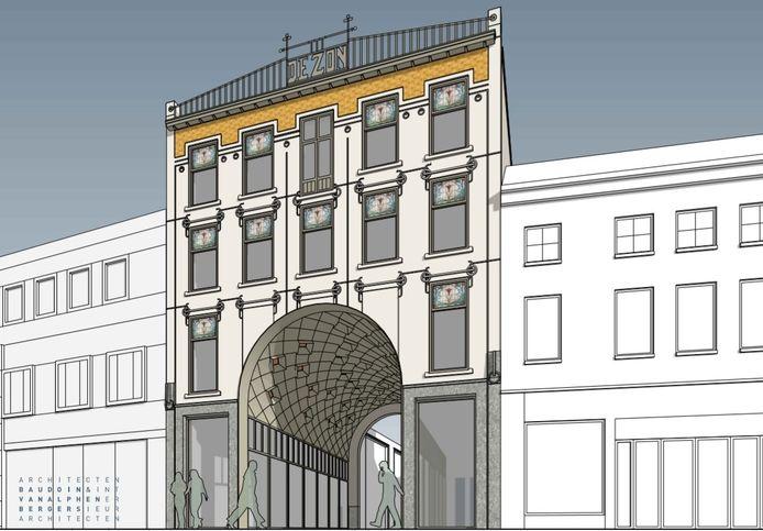 Het laatste ontwerp voor het poortgebouw aan de Heuvelstraat. Eind vorig jaar lag ongeveer hetzelfde ontwerp al op tafel, maar dat bleek toch niet te kunnen.