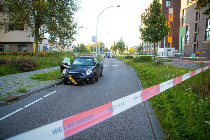 De automobilist had zijn beschadigde auto achtergelaten na de botsing met de boompjes en was er vandoor gegaan.