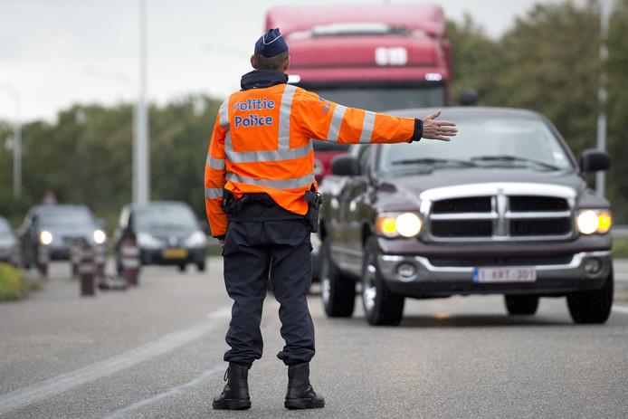 Een grenscontrole van de Belgische politie