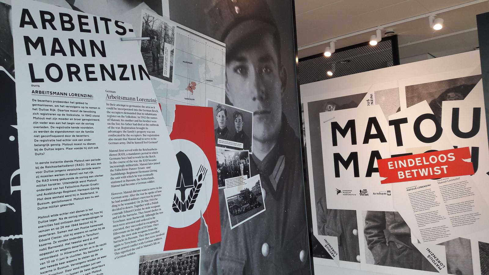 Beeld van de expositie over Lorenzini, Duits soldaat tegen wil en dank, in 'Airborne at the Bridge'.