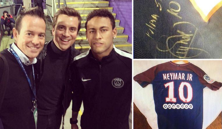 Links: in Brussel gingen De Bilde en Niels Destadsbader op de foto met Neymar. Rechts: foto's van het gehandtekende truitje.