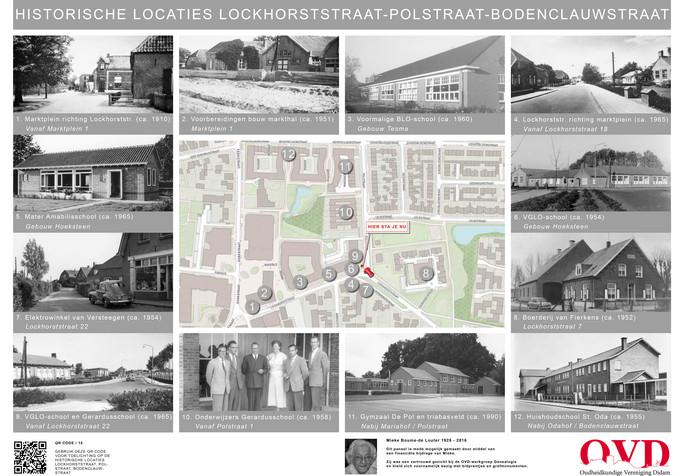 De afbeeldingen van het laatste informatiepaneel van de Polstraat en de Lockhorststraat in Didam dat de Oudheidkundige vereniging Didam (OVD) heeft geplaatst.