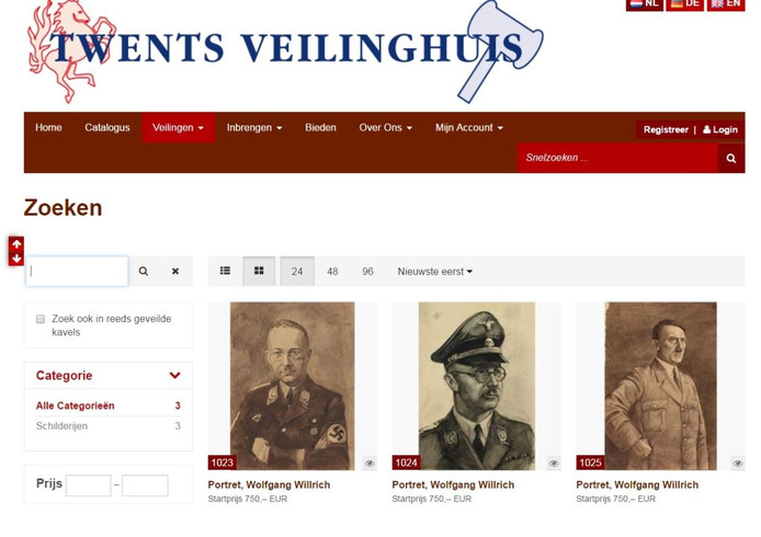 Screenshot website Twents Veilinghuis.
