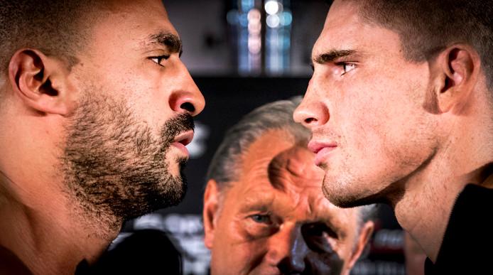 Badr Hari en Rico Verhoeven oog in oog vlak voor hun eerste gevecht in december 2016.