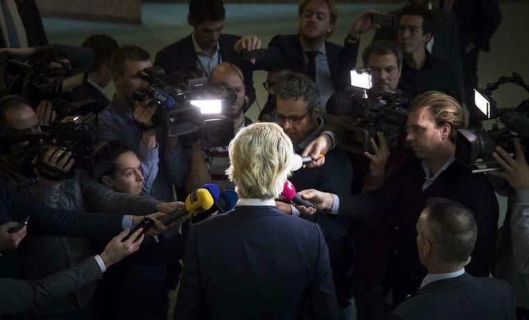 Geert Wilders reageert op de strafeis vanwege zijn uitspraken over 'minder Marokkanen'. Beeld Bart Maat, ANP