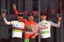 Vlnr: Alejandro Valverde, Primoz Roglic en Tadej Pogacar.