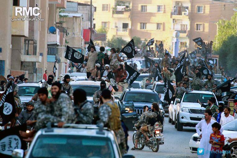 Het centrum van de IS-'hoofdstad' Raqqa in Syrië in juni 2014.