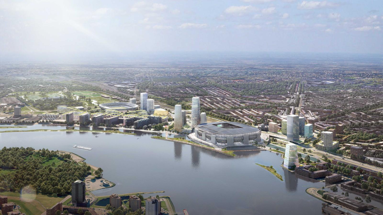 Illustratie van de plannen voor Feyenoord City.