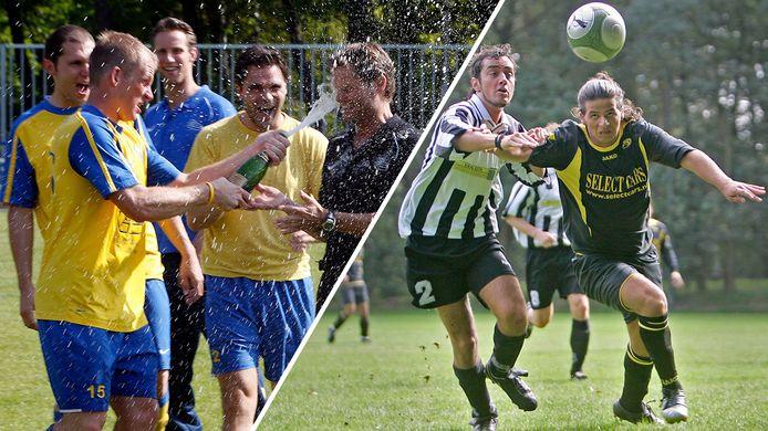 Links: Dijkse Boys-speler Patrick Ax spuit champagne in het gezicht van trainer Wim Swinkels na de promotie naar de topklasse in 2010. Rechts: VVS-aanvaller Asdin Tallih is ESV-verdediger Marcel Geijtenbeek te vlug af (2007).