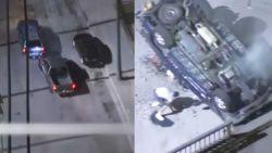 Politie-achtervolging eindigt  in spectaculaire crash: verdachte kruipt uit autowrak en probeert alsnog te vluchten