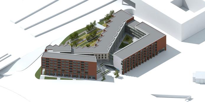 Een artist-impressium van ontwikkelaar Thes van het nieuwe appartementencomplex met supermarkt.