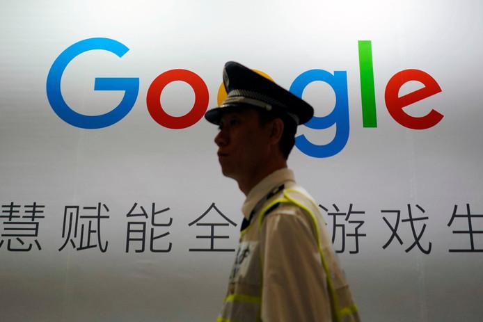 Een stand van Google op een Chinese digitale entertainmentbeurs in Shanghai