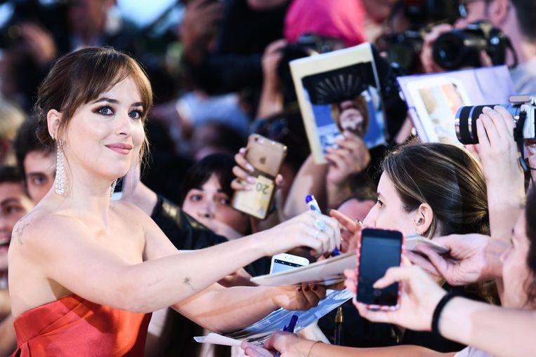 Dakota Johnson op het filmfestival van Venetië. Beeld AFP