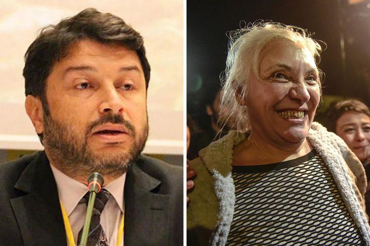 Voormalige verantwoordelijken van Amnesty International Taner Kiliç (links) en Idil Eser (rechts) zijn veroordeeld door de Turkse rechtbank.
