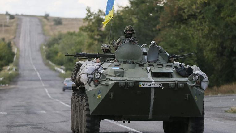 Een Oekraïense tank in de Donetskregio. Beeld reuters