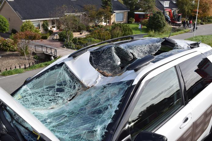 Boomstam op dak auto in 's-Gravenzande gekomen.