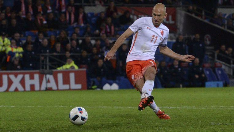 Arjen Robben in de wedstrijd tegen Wales. Beeld anp