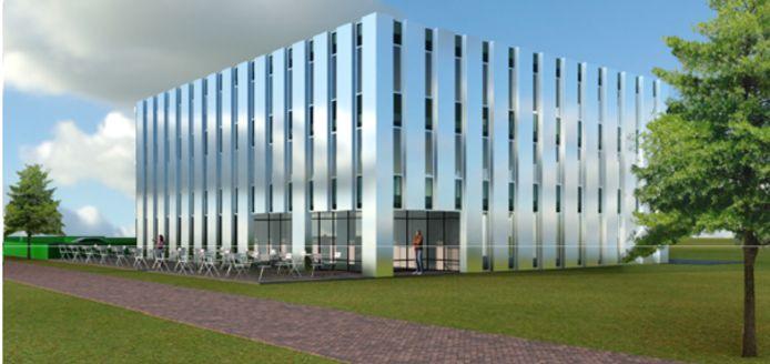 Impressie nieuwbouw met restaurant op Kempisch Bedrijven Park.