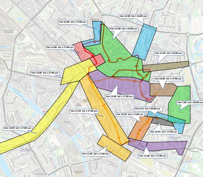De begin- en eindtijden van de gebieden die zijn afgesloten tijdens de Singelloop.