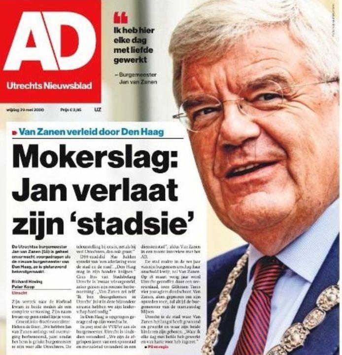 Voorpagina AD Utrechts Nieuwsblad
